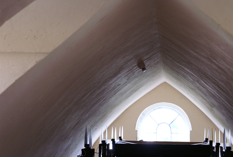attic room, King House, ceiling shadows