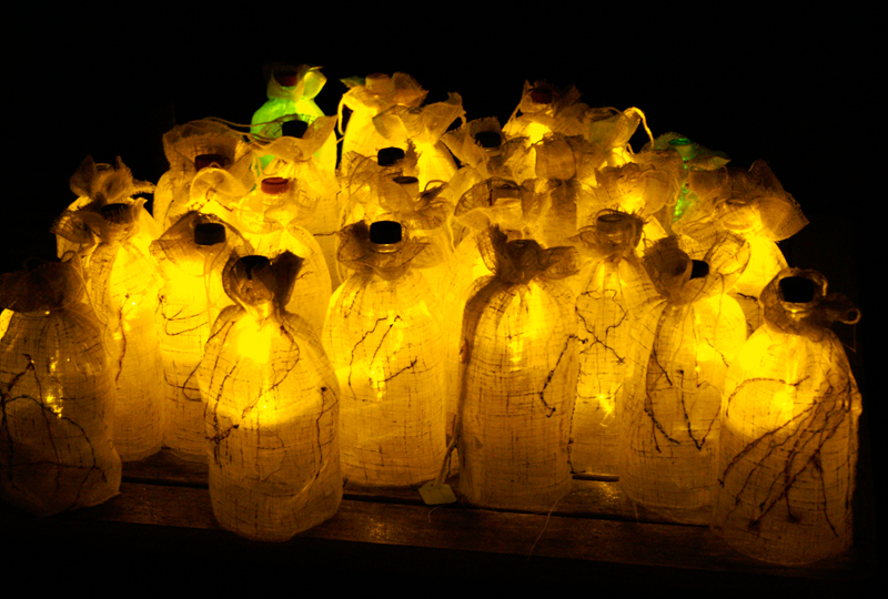 fibre art in school, Christmas Lantern