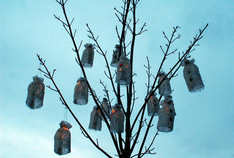 lanterns, as darkness falls