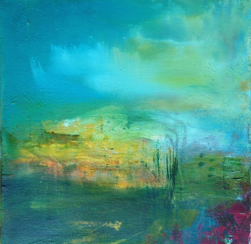 An ideal landscape, 2014. Mixed media on canvas. Dim 40cm x 40cm.