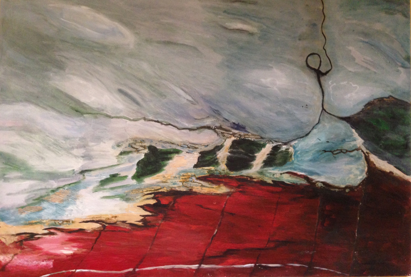 On the way to Spike, 2013. Mixed media on board. Dim. 80cm x 60cm.