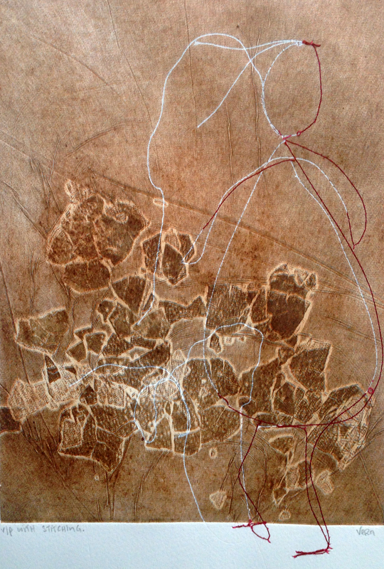 Wilderness, 2010. Intaglio and aquatint, stitching, eggshell printing. Dim. 30cm x 21cm.