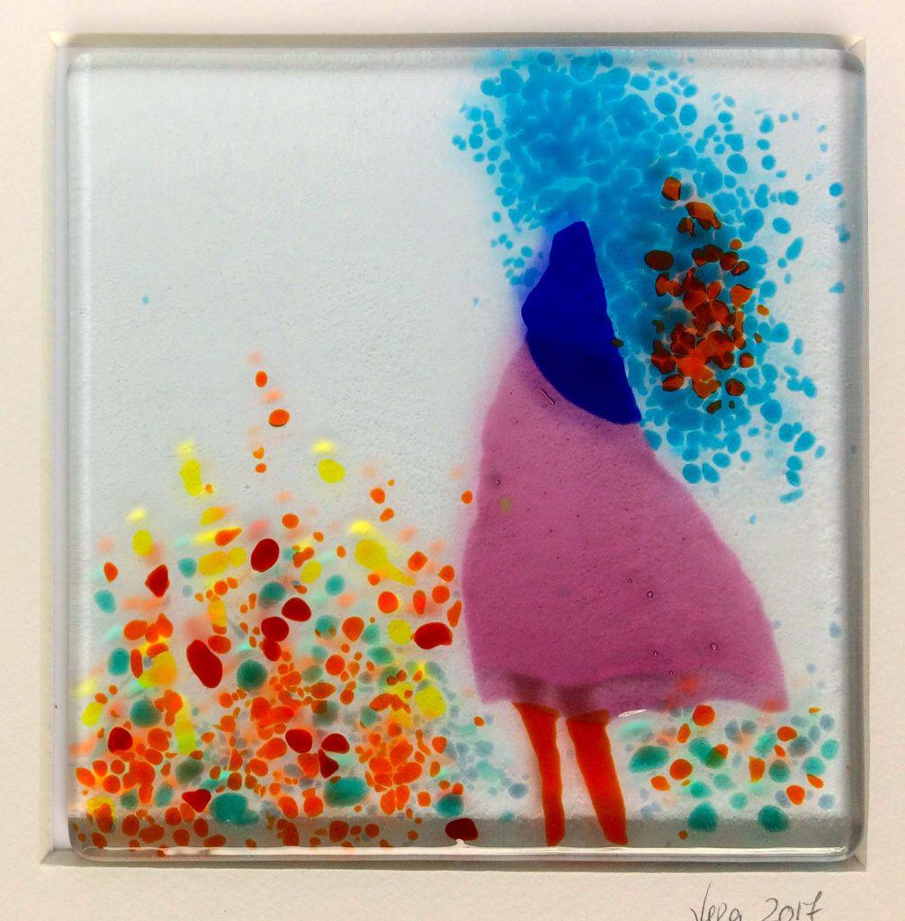 girl in pink dress, blue hair
