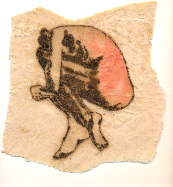 Alone 1, 2010. Dry point print, cotton fabric and wax. Dim. 30cm x 30cm