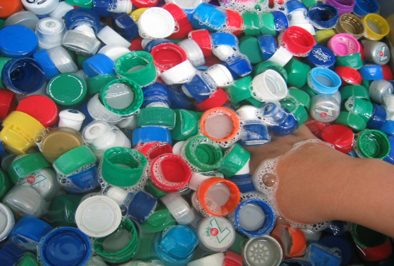 bottle tops, LED bulbs and batteries