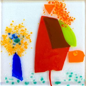 Stork Lady fused glass artwork