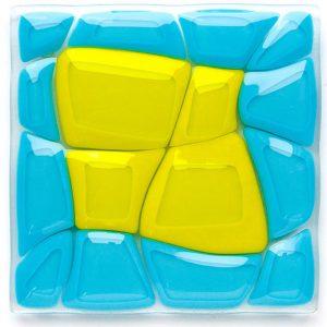 Blue Retro fused glass artwork