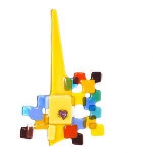 Yellow Steeple fused glass artwork