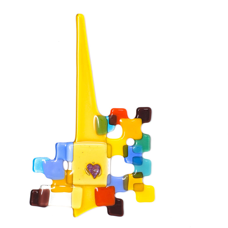 Yellow Steeple fused glass artwork