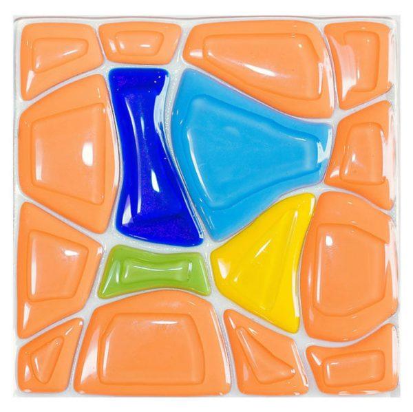 Orange Retro fused glass artwork