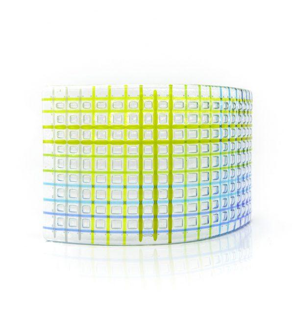 Curved tea light fused glass artwork