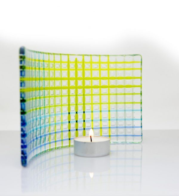 Curved tea light fused glass artwork