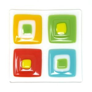 Square III fused glass artwork